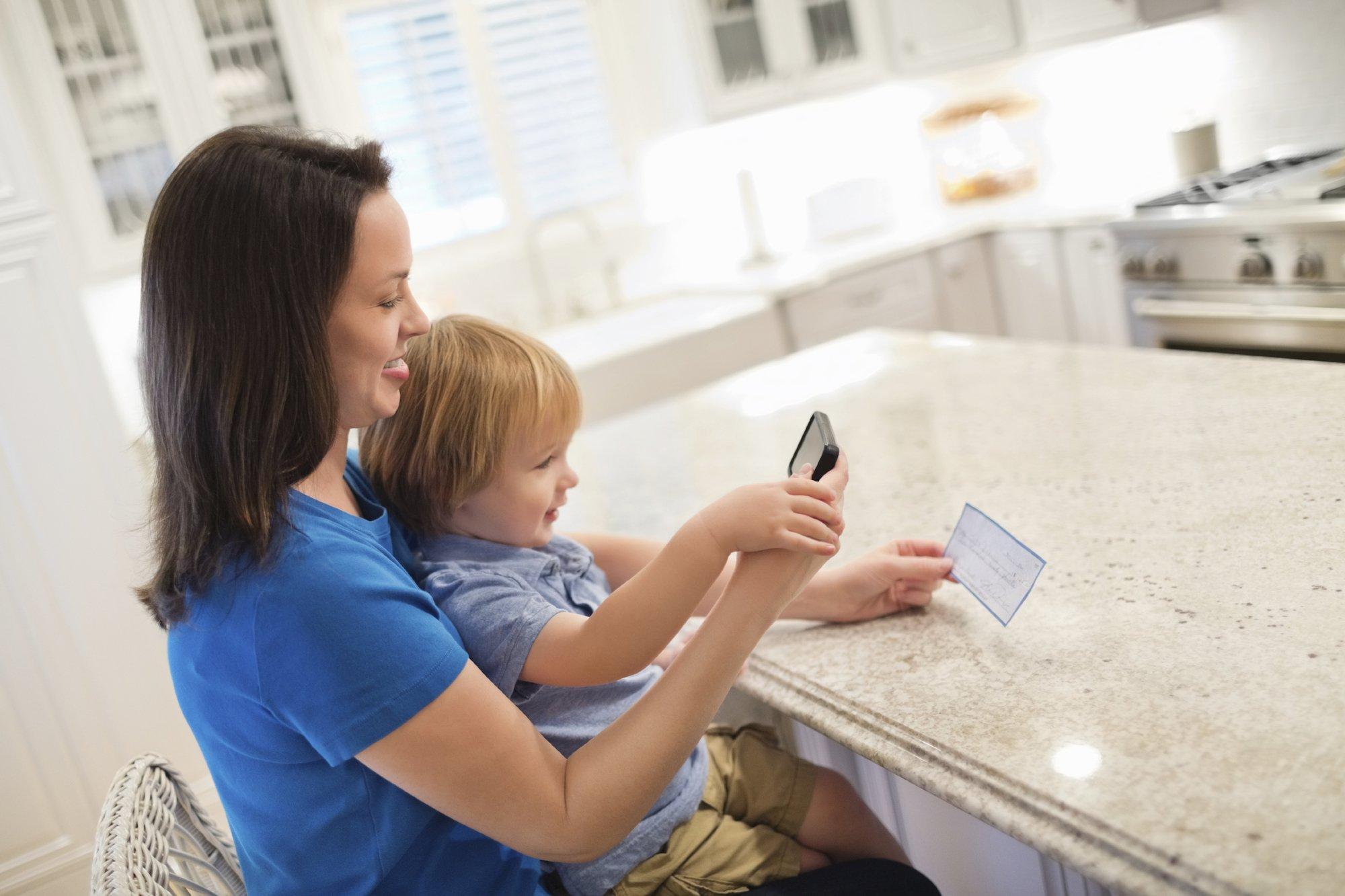 Image of woman depositing check